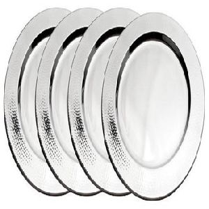 Silver Plated Hammered Wedding Charger Plate