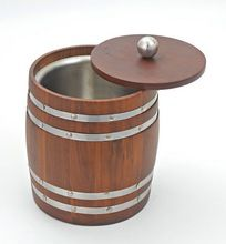 Barrel Wood Stainless Steel Ice Bucket