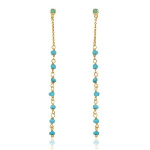 Turquoise Gemstone Beaded Silver Earring With Gold