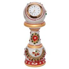 Ethnic Design Marble Table Clock Handicraft