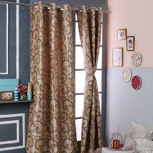 Floral Printed Brown Door Polyester Curtains