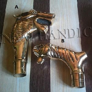 Brass Lion And Dragon Handles For Walking Sticks And Umbrellas