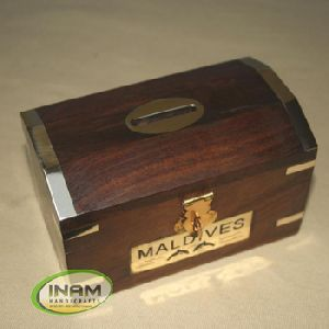 Wooden Money Box With Brass Inlay
