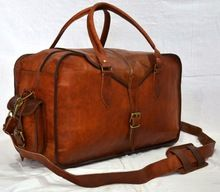 Brown Goat Leather Hide Luggage Travel Bag