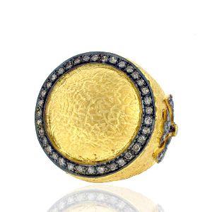 Gold Pave Diamond Vantage Look Women Ring