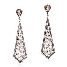 Silver Rose Cut Polki Diamond Dangle Earring