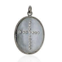 Sterling Diamond Cross Pendant Handmade