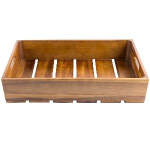 GASTRONORM ACACIA WOOD SERVING AND DISPLAY CRATE