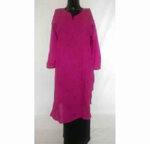 Kia Grape Pink Lucknowi Chikan Cotton Kurta