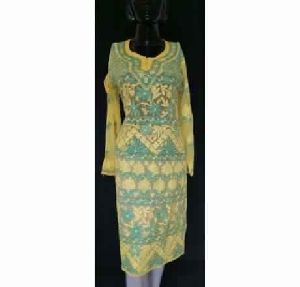 Kia Limeyellow Georgette Front Back Full Hand Embroidered Kurta