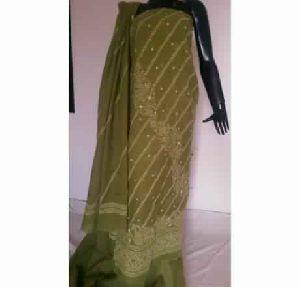 Kia Pure Mehndi Green Full Panel Embroidered Fine Cotton Suit