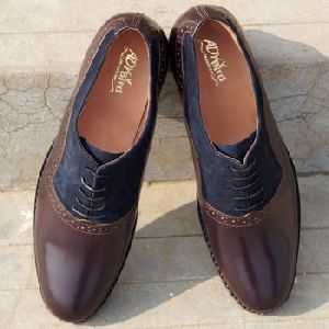 Welted Derby Blue Brown Formal Shoes