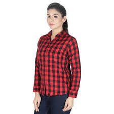 Ladies Cotton Checked Shirt