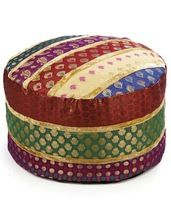 patch work brocade tukri pouf ottomans