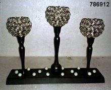 Aluminum And Glass Crystal Tealight Votive Candle Holder 3 Candles