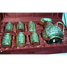 Brass Pitcher With Glass Set Silver Plated In Velvet Box For Corporate Gifts