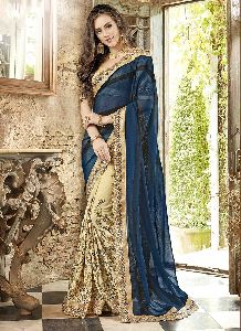Cream And Royal Green Embroidered Sarees