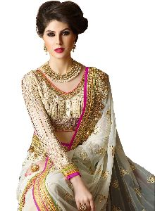 Off White Embroidered Sarees