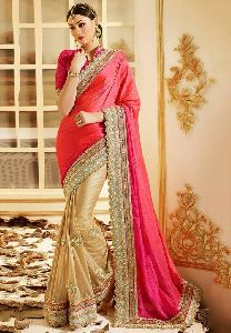 Peach And Golden Embroidered Sarees