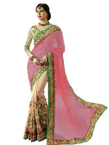Pink And Beige Embroidered Sarees