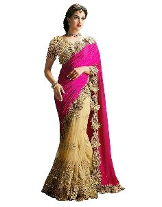 Pink And Golden Net Sarees