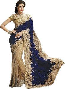 Royal Blue And Golden Net Sarees