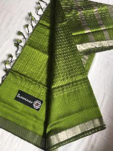Mangalagiri Handloom Cotton Silk Silver Jari Checks Sarees