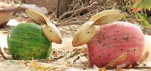 Colourful Wooden Shaped In Rabbit Figurine