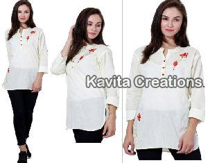 Cotton Cream Embroidered Long Tops