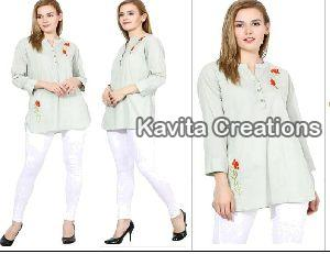 Cotton Light Green  Embroidered Long Tops