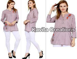 Cotton Light Purple Embroidered Long Tops