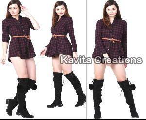 Cotton Purple & Black Twill Dress With Belt