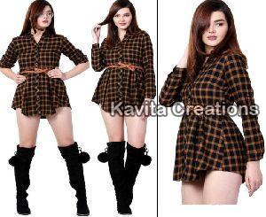Cotton Yellow & Black Twill Dress With Belt