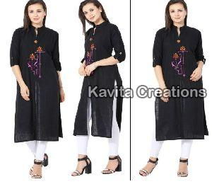 Rayon Black  Embrderied Kurtis