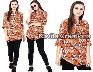 Rayon Orange Printed Shirts