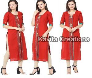 Rayon Red Embrderied Kurtis