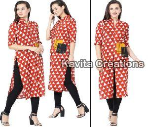 Rayon Red & White Embrderied Kurtis