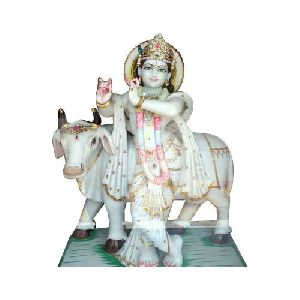 Decorative Marble Krishna With Cow Statue