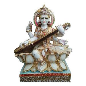 White Marble Decorative Saraswati Statue