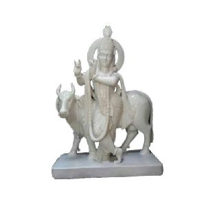 White Marble Krishna With Cow Statue