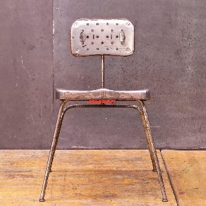 Industrial and vintage iron metal & solid wood retro Dining Chair