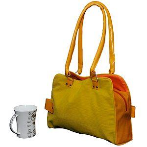 bright colored handbag