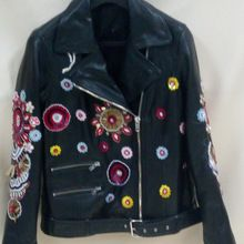 Hand Embroidered Leather Jacket-