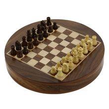 Round Wooden Chess Board