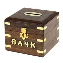 Safe Money Box Wooden Piggy Bank