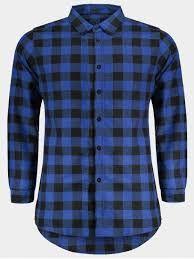 Mens Blue Black Check Shirt