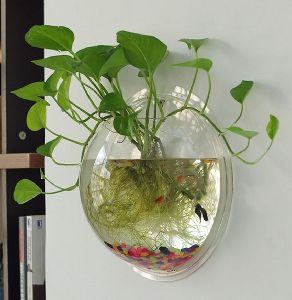 1X Creative Fish Tank Aquarium Plant Wall Mount Hanging Pot Bowl Bubble Aquarium