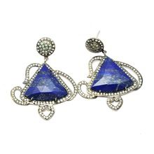 Antique 925 Sterling Silver With Lapis Stone FIne Silver Earring