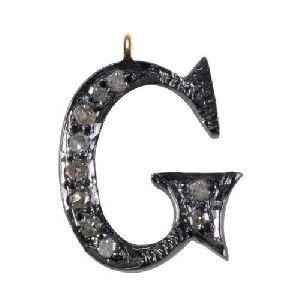14k Gold Attractive G For Gun Pave Diamond Alphabet G Locket Letters Charm\'s