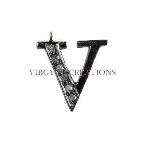14k Gold V Text Attractive Alphabet Charm Pendants Pave Diamond Finding Jewelry